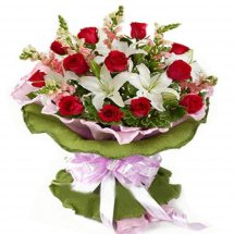 White Lilies and red roses basket