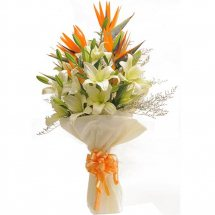 White Lilies and Bird of paradise bouquet with White wrapping