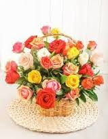 Three Dozen Assorted Color Roses in a Basket