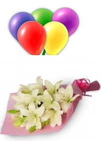 5 Air Inflated balloons with 4 White lilies hand Tied