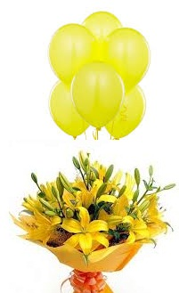 5 Air Inflated Yellow balloons with 6 Yellow Lilies hand Tied in Yellow Wrapping