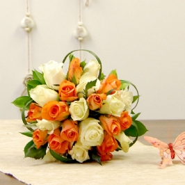 Two Dozen orange and white Roses Table Arrangement