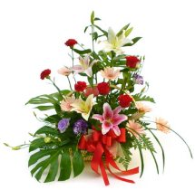 Roses basket with Palm leaves