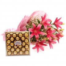 Box of 24 Ferrero rochers and 6 Pink Lilies bouquet