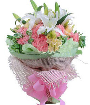 White Lilies and pink carnations bouquet