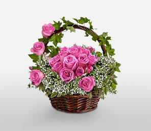 Bangalore flower delivery services flower basket delivery in bangalore basket of 24 pink roses mightylinksfo