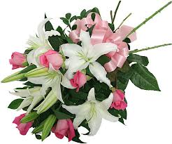 White Liliums and Pink Roses