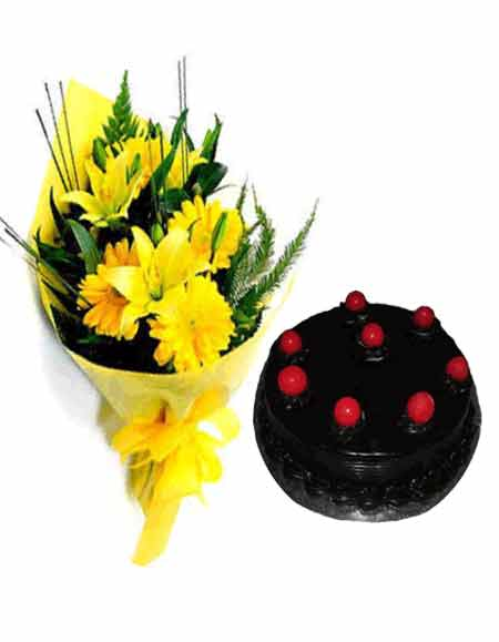 12 Yellow Gerberas Bunch+ 1/2 Kg Cake.