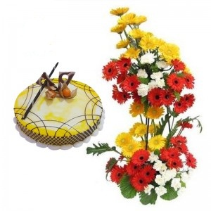 Gerberas on a 2 tier Stand+ 1/2 Kg Cake
