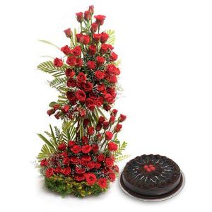 Red Roses on Stand+ 1 Kg Cake