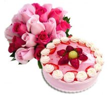1/2 Kg Strawberry Cake and 18 pink roses bouquet