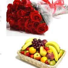 12 red roses 2 Kg Fruits basket