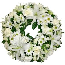Wreath with white lilies and gerberas