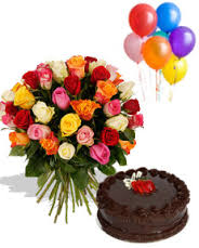 1/2 Kg Chocolate Cake 6 Balloons with 24 Mix roses basket