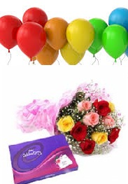 6 Air inflated Balloons Celebration Box and 5 Mix Roses