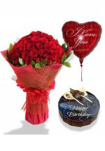 1/2 Kg Chocolate Cake with 3 Air filled heart balloons and 24 red roses bouquet