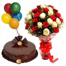 1/2 Kg Chocolate Cake with 5 Air filled balloons and 12 red roses in Vase