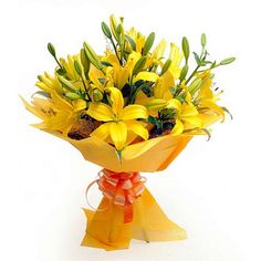 Yellow Lilies bouquet with yellow wrapping