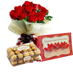 Box of 16 pieces Ferrero Rocher Chocolates with Card and 12 Red roses bouquet