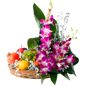 Orchids Arrangement in a Basket along with fruits