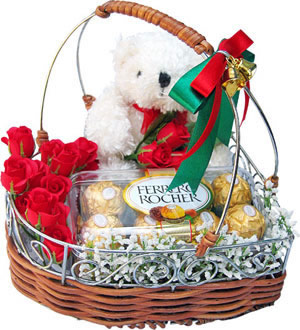 16 Ferrero rocher Chocolates+Teddy+12 red roses all in basket