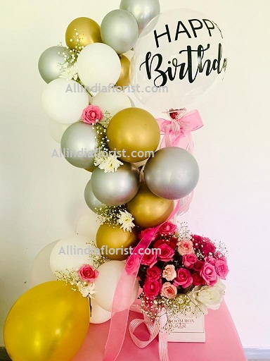 30 White Silver Gold Balloons Air filled with happy birthday printed balloon 12 roses