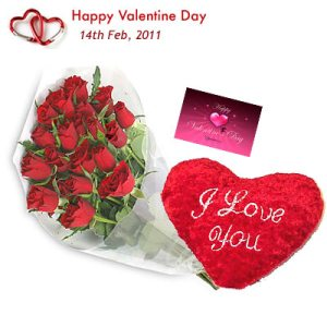 12 red roses bouquet with Card and I LOVE YOU Valentine heart 6 inches