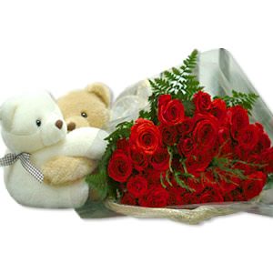 2 Teddies (NOT HUGGING) with 12 red roses Bunch