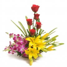 6 orchids 4 yellow lilies 5 red roses basket