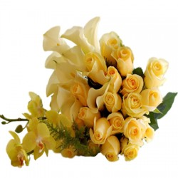 Yellow Lilies with yellow roses basket