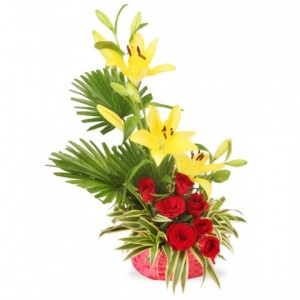 Yellow Lilies and red roses basket