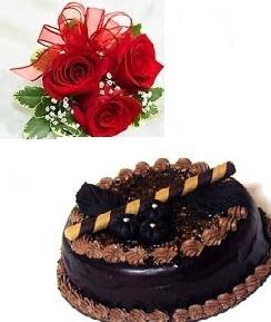 1 2 Kg Chocolate Cake 3 Roses
