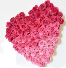 36 Pink ombre roses heart