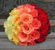 Ombre Shades Orange yellow 50 Roses bouquet