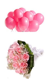 10 Pink Air inflated Balloons 10 Pink Roses