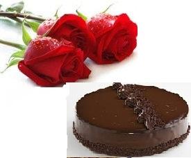1 Kg Chocolate Cake 3 Roses