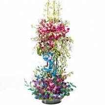 Blue and purple Orchids in 2 tier