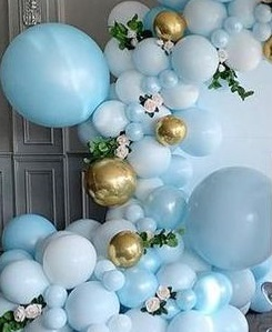 50 White and golden and Blue balloons adorned with leaves and white flowers
