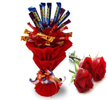 10 Cadburys chocolate bouquet with 2 Red roses