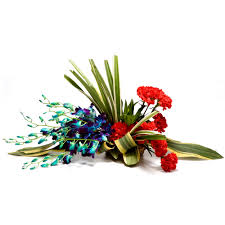 Basket of 6 Blue orchids 6 Red Carnations