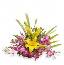Basket of 6 Purple orchids 3 Yellow lilies