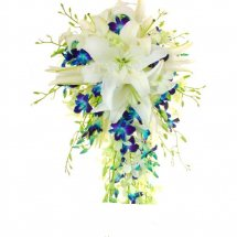 White lilies and Blue orchids bouquet