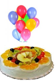 8 Air blown Balloons 1 Kg Fresh Fruit Cake