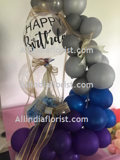 30 Purple Blue Silver Balloons Air filled with happy birthday printed balloon 12 roses