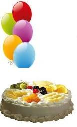 5 Air blown Balloons 1/2 Kg Fresh Fruit Cake
