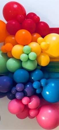 100 deep Pink deep Blue deep Yellow deep Red Green small and large Balloons air filled