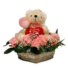 Teddy Bear (6 inches ) and 6 pink Roses in basket