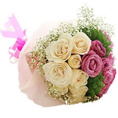 Dozen Pink and white Roses bouquet
