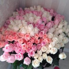Basket of 100 Pink and White Roses