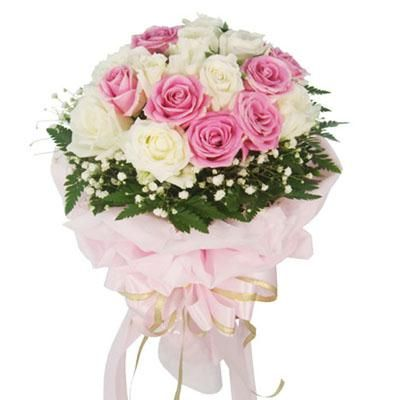 50 Pink and white Roses bouquet